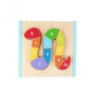 Jucarie lemn Puzzle Educational Montessori, Sarpele colorat numere 0-10