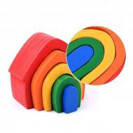 Jucarie Montessori, Casuta lemn Curcubeu, Rainbow House.