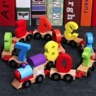 Jucarie Tren din lemn cu cifre, Jucarie Montessori.