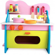 Mini Bucatarie Chicineta din lemn, Set joaca cu accesorii. Color Kitchen Role Play.