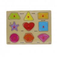 Puzzle incastru cu buton, 9 forme geometrice. Puzzle lemn Montessori.
