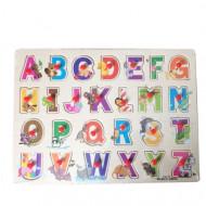 Puzzle incastru cu buton Alfabet litere. Puzzle educativ Montessori.