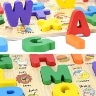 Puzzle incastru Montessori Litere mari de tipar, limba engleza.