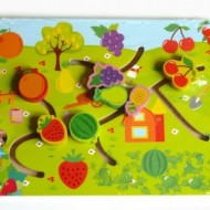 Puzzle labirint din lemn, Fructe si Asocieri. Puzzle educativ Montessori.