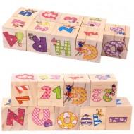 Set 9 cuburi din lemn, Litere si Cifre.