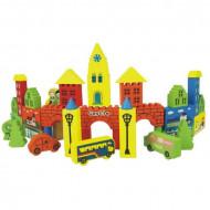 Set joaca, cuburi constructie din lemn In vizita la Castel, Jucarii lemn pentru copii.