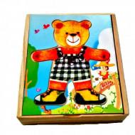 Set joaca Imbraca Ursuletul, Puzzle incastru din lemn.