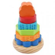 Turn Leu Piramida cu piese din lemn, Jucarie Montessori.