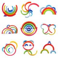 Curcubeu lemn, set creativ 8 piese. Jucarie Montessori si Waldorf. Rainbow building blocks.