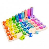 Joc educativ din lemn, Rainbow Board, Alfabet Cifre si Forme din lemn. Joc Montessori.