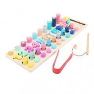 Joc educativ Montessori 4 in 1, Dexteritate, Pescuit Magnetic si Matematica.