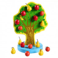 Jucarie educativa din lemn, Joyful Orchard Pom cu fructe, Piese cu magnet.