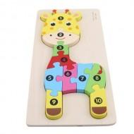 Jucarie educativa Puzzle lemn incastru Girafa cu cifre