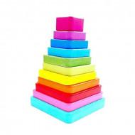 Jucarie lemn Montessori Turn Piramida Tangram Square, Jucarie 2-3 ani.