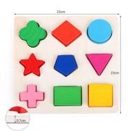 Puzzle din lemn incastru cu forme geometrice, puzzle educativ Montessori.