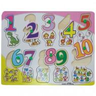 Puzzle incastru cu buton Cifre si Operatii Matematice. Matematica distractiva.