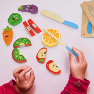 Puzzle incastru, set taiat fructe si legume din lemn.