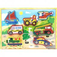 Puzzle lemn incastru 3D, Vehicule. Puzzle Montessori.