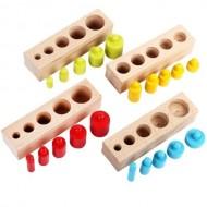 Set Cilindri Montessori lemn natur, Cilindri colorati. Jucarie educativa din lemn Montessori.