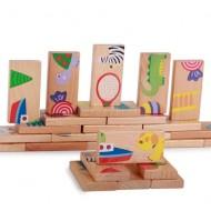 Joc educativ puzzle domino din lemn.Jucarii si Jocuri Montessori din lemn.