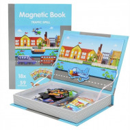 Joc educativ puzzle magnetic Trafic si Vehicule, Carte magnetica PlayBook.