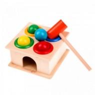 Jucarie Casuta din lemn cu bile si ciocan, cutia permanentei. Jucarii si Jocuri Montessori din lemn.