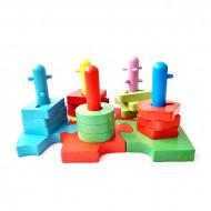 Jucarie din lemn 2 in 1 Sortator complex cu forme geometrice 5 coloane, Puzzle Elefant.