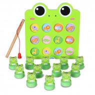 Jucarie din lemn, Joc de pescuit si memorie, Fishing frog memory game Beilaluna.