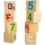 Jucarie din lemn Tren 8 cuburi cu litere si cifre.Jucarii si Jocuri Montessori din lemn