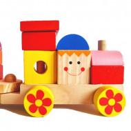 Jucarie lemn, Tren cu forme geometrice.