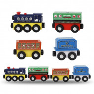 Jucarie lemn, Trenulet cu vagoane marfar cuplate magnetic.