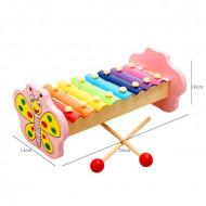Jucarie muzicala Xilofon din lemn, 8 note muzicale.