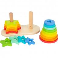 Jucarie Piramida Sortator Curcubeu, Rainbow Shape-Fitting, Jucarie din lemn Small Foot.