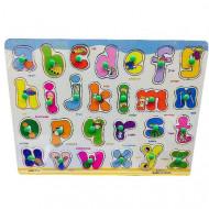 Puzzle incastru cu buton Alfabet litere mici de tipar. Puzzle educational.