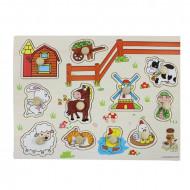 Puzzle incastru din lemn cu buton Animale Domestice. Puzzle Montessori.
