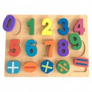 Puzzle incastru din lemn cu cifre colorate 0-9