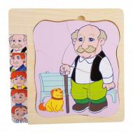 Puzzle lemn Multistrat Evolutia Omului, Puzzle educativ Montessori, Bunicul.