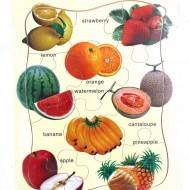 Puzzle lemn tip jigsaw cu fructe.Jucarii si Jocuri Montessori din lemn.