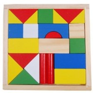 Set 23 piese din lemn pentru constructii, forme geometrice.Jucarii si Jocuri Montessori din lemn