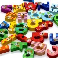 Set 26 litere de tipar din lemn. Alfabet Montessori.
