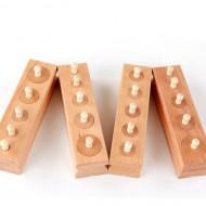 Set Cilindri Montessori lemn natur. Jucarie educativa din lemn Montessori.