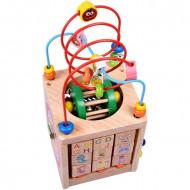 Cub din lemn cu activitati Gargarita. Cub educativ multifunctional 6 in 1.