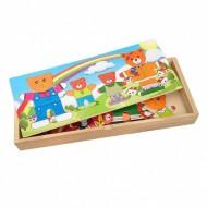 Joc Puzzle incastru din lemn Imbraca Ursuletii.Jucarii si Jocuri Montessori din lemn.