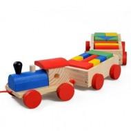 Jucarie din lemn Tren cu vagoane si forme geometrice.Jucarii si Jocuri Montessori din lemn