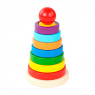 Jucarie Turn Piramida cu forme geometrice. Jucarie din lemn Piramida Montessori.