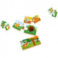Puzzle bebe din 2 piese Unde traiesc animalele, Ravensburger.