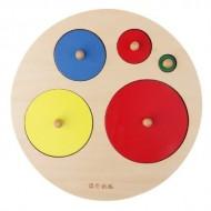 Puzzle circular incastru Montessori. Puzzle cercuri cu buton.