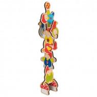 Puzzle incastru din lemn, Piticii acrobati, Goki. Joc de stivuire.