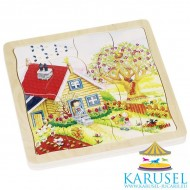 Puzzle multistrat 4 Anotimpuri, Goki. Puzzle educativ Montessori.
