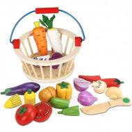 Set joaca Legume cu magnet pentru taiat si feliat, Cosuletul cu legume.